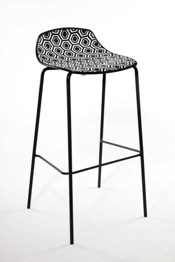 Alhambra Stool 67, Sgabello in tubo di acciaio verniciato, seduta in polimero