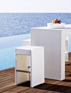 Cora sgabello, Sgabello intrecciato, struttura in alluminio, per esterni