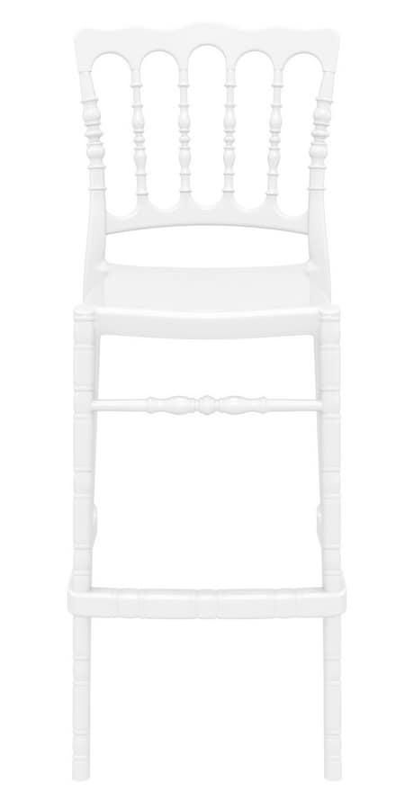 Napoleone 75, Sgabello stampato in policarbonato trasparente, per bar