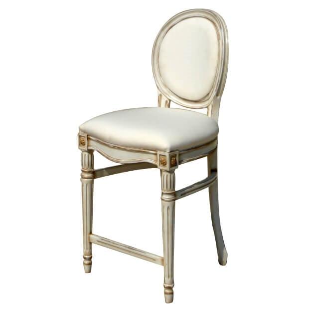 Agra LU.0973, Sgabello intagliato con sedile e schienale imbottiti