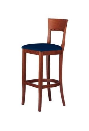 C17 SG, Sgabello in legno massello, con seduta imbottita