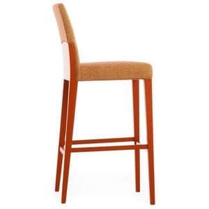 Charme 02581, Sgabello in legno massello con seduta e schienale imbottiti