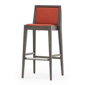 Flame 02181, Sgabello in legno massiccio, seduta e schienale imbottiti, copertura in tessuto, appoggiapiede in acciaio, per ambienti contract