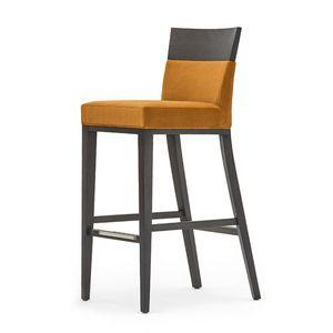 Logica 00988, Sgabello in legno massiccio, seduta e schienale imbottita, copertura in tessuto, appoggiapiede in acciaio, per ambienti contract e domestici
