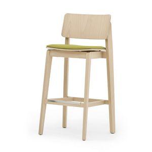 Offset 02882, Sgabello in legno massiccio, seduta imbottita,  in stile moderno