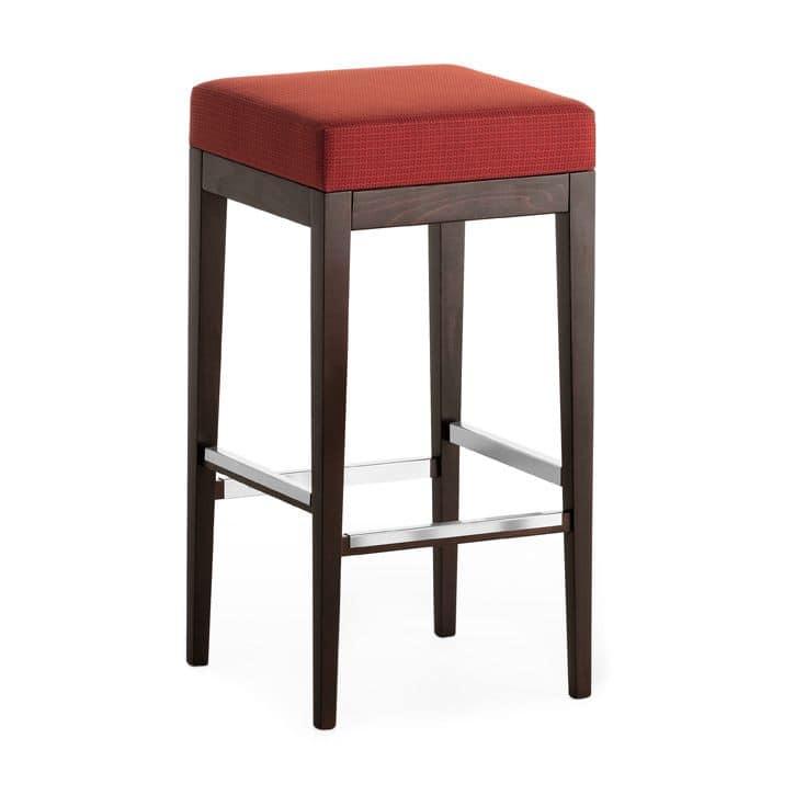 Pouf 01384, Sgabello quadrato in legno massiccio, seduta imbottita, copertura in tessuto, per ambienti contract