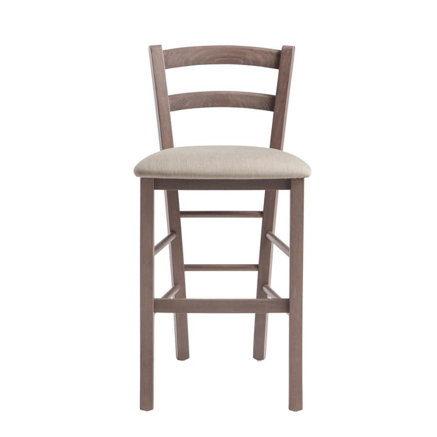 RP42AB h.63, Sgabello in legno con sedile personalizzabile