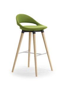 Samba Stool 4G legno, Sgabello moderno con gambe coniche e poggiapiedi