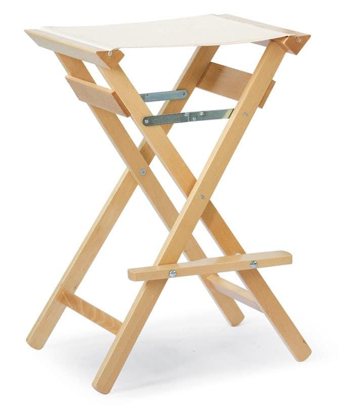 Sgabello Alto P, Sgabelli senza schienale, pieghevole, per uso esterno