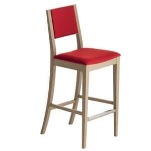 Sintesi 01582, Sgabello in legno massiccio, seduta e schienale imbottiti, copertura in tessuto, appoggiapiede in acciaio, per ambienti contract e domestici