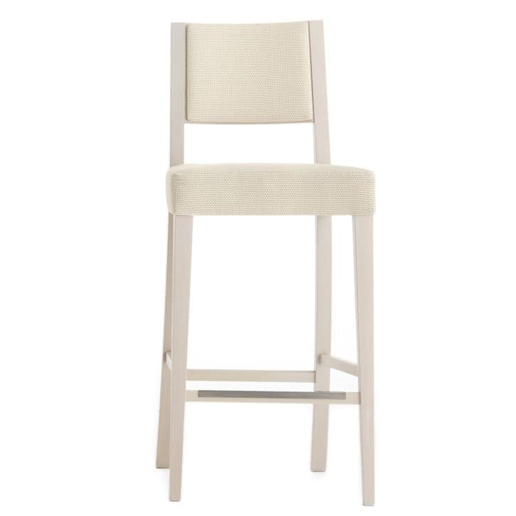 Sintesi 01584, Sgabello in legno massiccio, seduta e schienale imbottiti, copertura in tessuto, appoggiapiede in acciaio, per ambienti contract e domestici