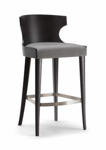 XIE BAR STOOL 052 SG, Sgabello in legno con seduta imbottita