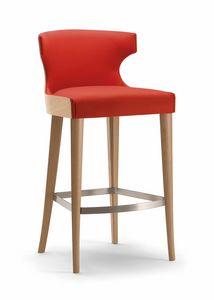 XIE BAR STOOL 053 SG, Sgabello in legno, con avvolgente schienale