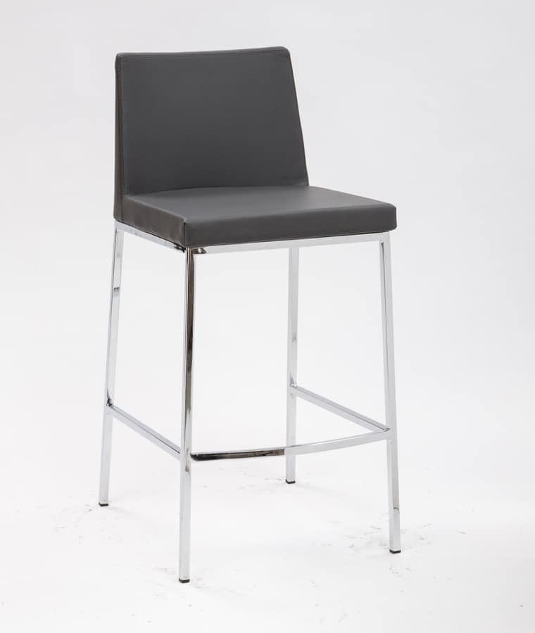 Art. 561 Erik, Sgabelli in metallo cromato, con seduta imbottita