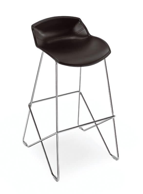 Kaleidos sgabello cuoio, Sgabello design con seduta in cuoio, per il contract