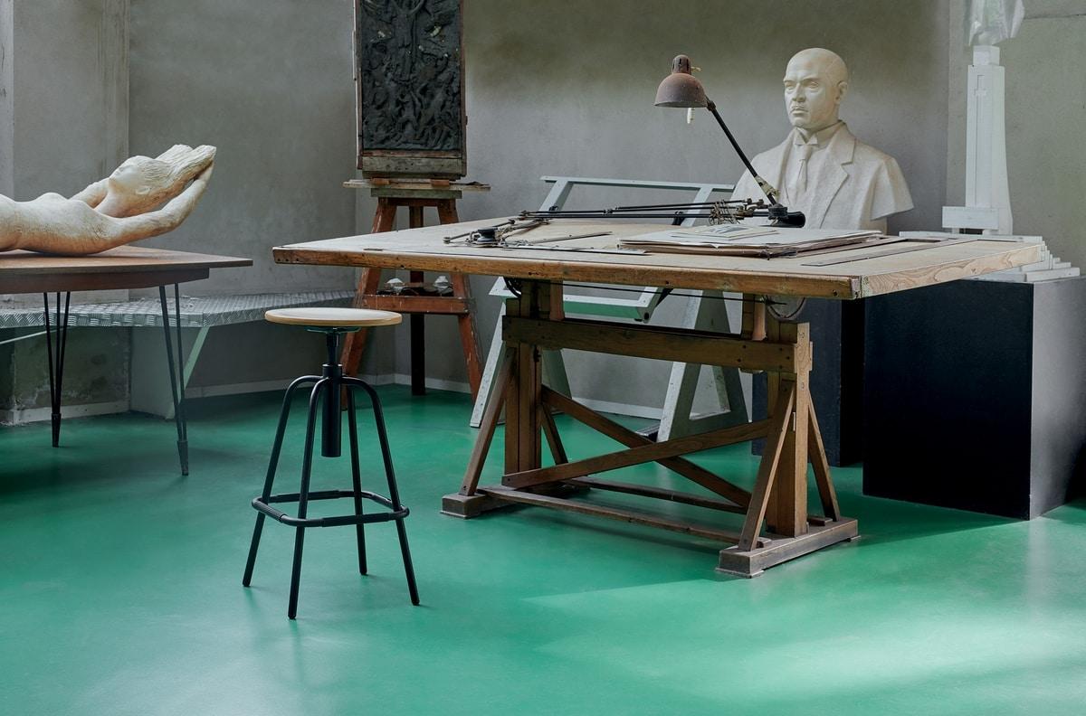 Mea Wood 05, Sgabello con seduta tonda in legno