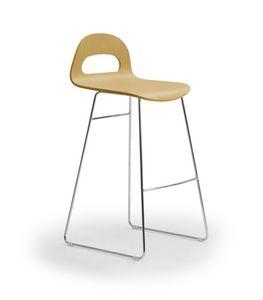 Samba Wood stool slitta, Sgabello con base a slitta, scocca in legno