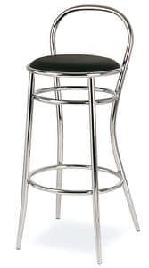 SG 020, Sgabello in metallo curvato, seduta tonda, per alberghi