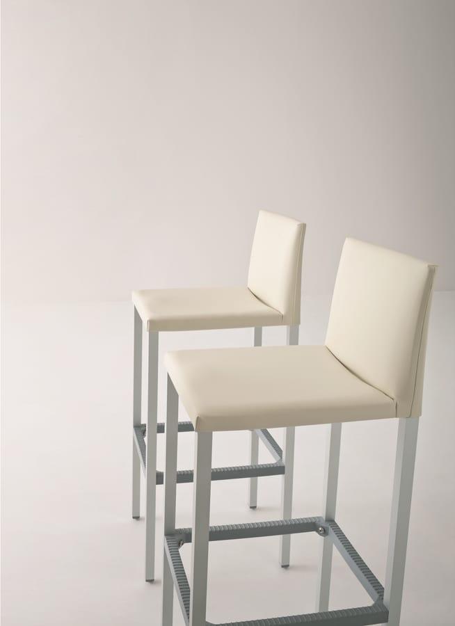 Milano 75, Sgabello alto in alluminio, seduta e schienale rivestiti