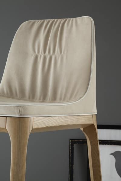 MIVIDA sgabello, Sgabello con seduta e schienale imbottiti in tessuto o pelle