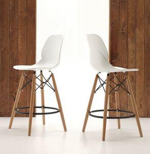 Art. 522 Shell Stool, Sgabello da cucina, gambe in legno e seduta in polipropilene