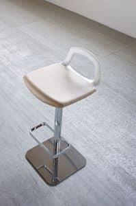 Pop, Sgabello design, base in metallo, schienale-maniglia