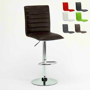Sgabello alluminio alto cucina sedia Detroit � SGA043DET, Sgabello imbottito, robusto e confortevole, per cucina