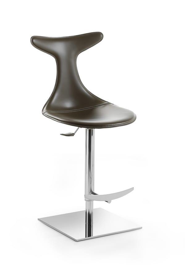 Vito sgabello, Sgabello regolabile in altezza, girevole, con seduta rivestita in cuoio
