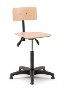 Rumba 02, Sgabello girevole con seduta e schienale in legno