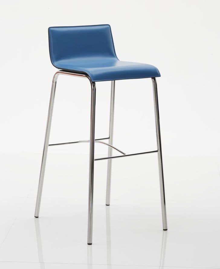 Ten sgabello, Sgabello in metallo, dal design moderno, con seduta in cuoio in vari colori