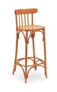 B07SG, Sgabello in legno curvo, schienale con motivo verticale, per bar e pub