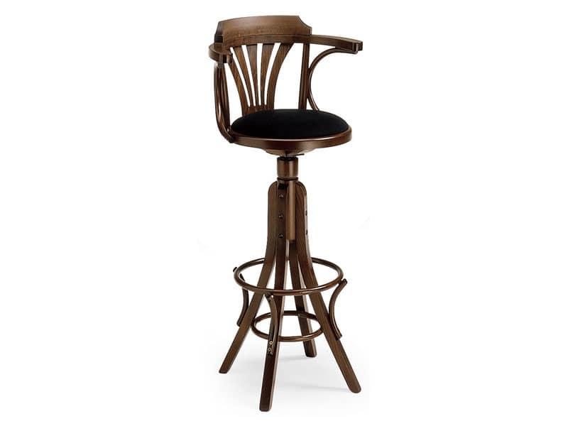 SG600/G, Sgabello girevole in legno curvato, per bar e pub