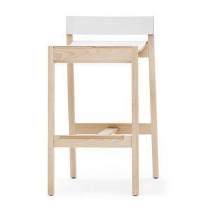 Maki 03784 - 03785, Sgabello in legno con poggiapiedi in inox