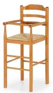 Baby, Sgabello in legno per bambini adatto a case e ristoranti, sgabello per bambini per la cucina