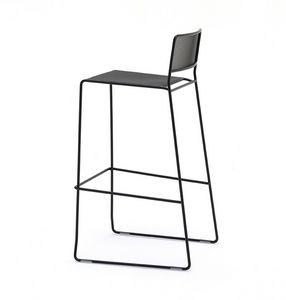 Log mesh ST, Sgabello in metallo dal design lineare, adatto per uso esterno, impilabile