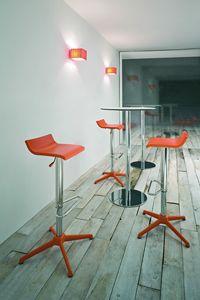 Over stool, Sgabello moderno regolabile, in acciaio cromato