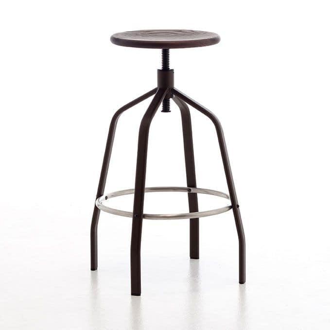 Vito, Sgabello in metallo con alzata regolaile ideale per bar e cucine moderne