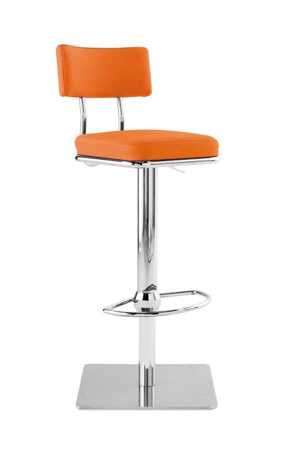 Art.Quadro/Reg, Sgabello in acciaio, a base quadrata, seduta e schienale imbottiti, per ambienti contrac e domestici