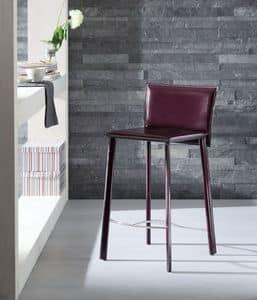 Infinity sgabello, Sgabello rivestito in cuoio, disponibile in vari colori, per hotel e la cucina