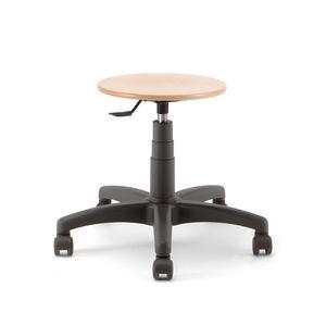 Mea Wood 01, Sgabello su ruote, con seduta tonda in legno