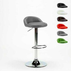 Sgabello alto per cucina e bar cromato in similpelle BALTIMORA - SGA800BAL, Sgabello da bar con seduta in ecopelle