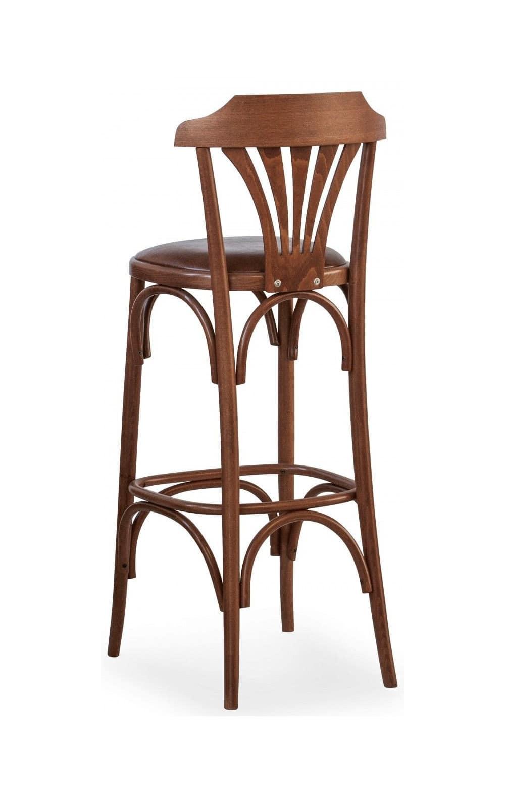 B05, Sgabello in legno curvato, seduta imbottita, per bar, pub e fast food