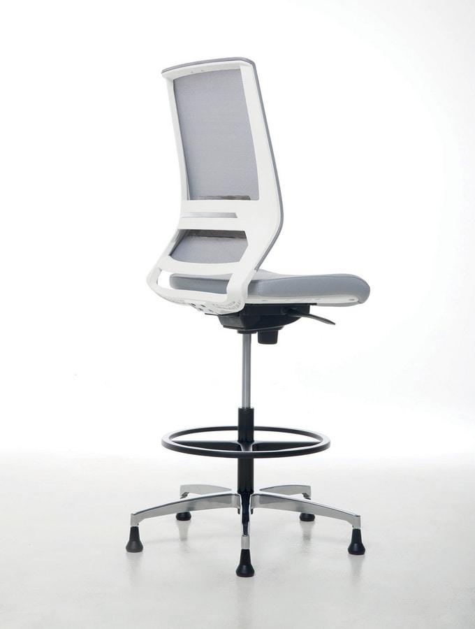 Logica White Stool 01, Sgabello bianco per uffici eleganti