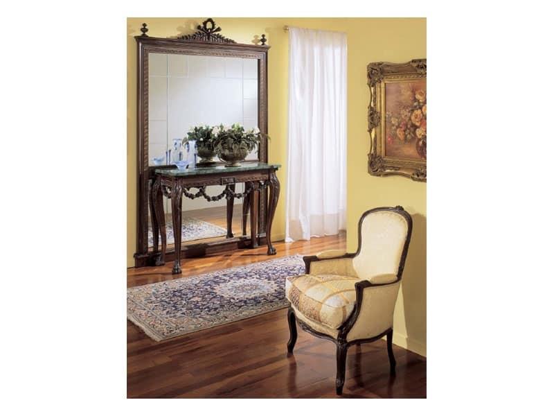 3160 SPECCHIERA, Specchiera classica di lusso, in legno intagliato a mano