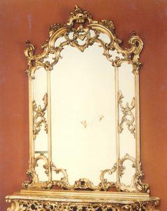 560 specchiera, Specchio in stile barocco, con cornice intagliata a mano