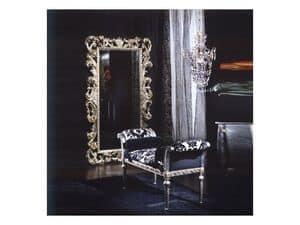 701 SPECCHIERA, Specchiera in legno, finitura argento, classica di lusso