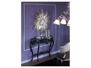 709 SPECCHIO, Specchio a forma di sole, finitura a foglia argento