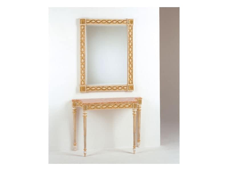 Art. 710/S, Specchio classico, in stile Luigi XVI, finiture foglia oro