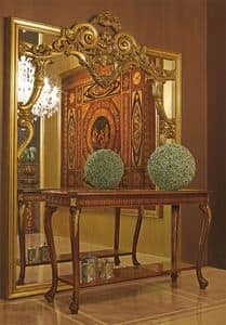 Art. 893, Ampia specchiera con cornice in legno intagliato a mano