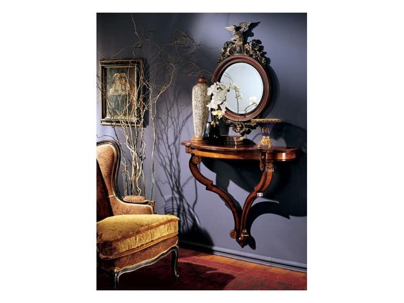 Console specchiera 863, Specchiera tonda con cornice in legno decorato